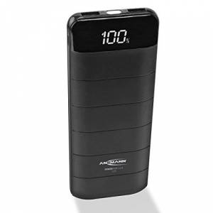 ANSMANN Power Bank Portable Charger 12000mAh Capacity   External Battery Pack Powerbank with 2 USB Ports for Backup Charging Rechargeable Battery   LCD Display & LED Light - Black