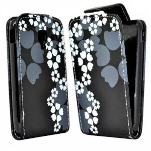Accessory Master Leather Case for Samsung Galaxy Ace 2 i8160-Flower-Black