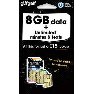 Giff Gaff Sim Card with 8GB Data and Unlimited Minutes and Texts, No Contract (£15.00 Top-Up Upon Activation Required)