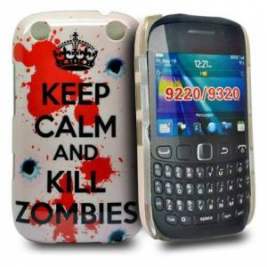 Accessory Master Pink 'keep calm and kill zombies ' design hard case cover for blackberry Curve 9320
