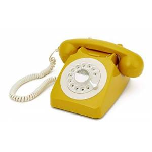 GPO 746 Rotary 1970s-style Retro Landline Phone - Curly Cord, Authentic Bell Ring - Mustard