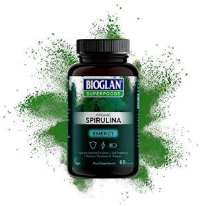 Bioglan Superfoods Organic Spirulina 800mg High in Vitamin C   Immune System Function   Fatigue & Tiredness - 60 Capsules