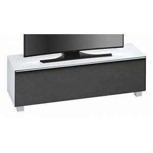 MAJA Möbel Maja Furniture 7736 3673 Soundboard, White Glass Matt/Acoustic Matterial Black, 140.20 x 43.30 x 42 cm