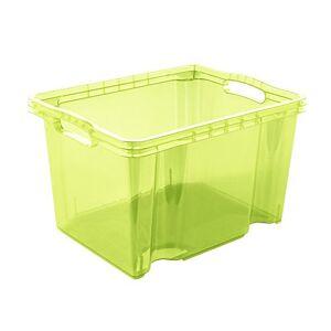 keeeper Multi-Purpose Storage Box with Integrated Handles, PP, Fresh Green (Transparent), 35 x 27 x 21 cm