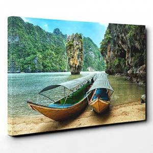 Big Box Art Canvas Print Wall Art Phang NGA Boats Thailand   Mounted and Stretched Box Frame Picture   Home Decor for Kitchen, Living, Dining Room, Bedroom, Hallway, Multi-Colour, 30x20 Inch