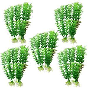 sourcingmap Plastic Artificial Leaf Fish Tank Aquarium Plant Ornament, Green, 10-Piece