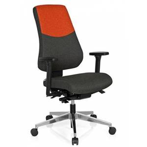 hjh OFFICE Office Chair/Swivel Chair PRO-TEC 600 Fabric, Dark Grey/Red hjh OFFICE