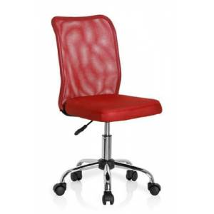 hjh OFFICE, 685967, Childrens Desk Chair, swivel chair, computer chair kids room, KIDDY NET, red, mesh, fabric, for children, ergonomic mesh back, height adjustable, office task study chair,  home stool, armless, with soft-bottom rollers, multicolor