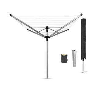 Brabantia Lift-O-Matic Rotary Clothes Airer with Metal Ground Spike, Peg Bag and Protective Cover - 50 m Soil Spear