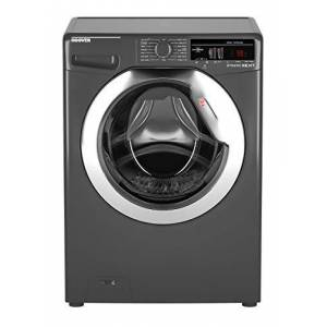Hoover DXOA 49C3R Freestanding Washing Machine, NFC Connected, 9Kg Load, 1400rpm Spin, Graphite