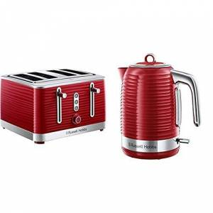 Russell Hobbs 24382 Inspire High Gloss Plastic Four Slice Toaster, Red with Kettle