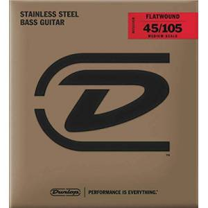 Dunlop Stainless Steel Flatwound Bass Strings Medium Scale 45-105