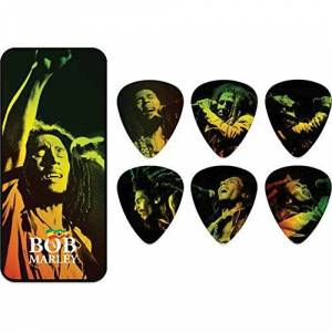 "Dunlop Jim Dunlop BOBPT05M Medium""Bob Marley Reggae"" Tin Pick (Pack of 6)"