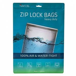 Noaks Bags XL   5 pcs   Dry bags - protective covers - ZIP bags   100% waterproof up to 10 m, odour-proof, food safe, airtight