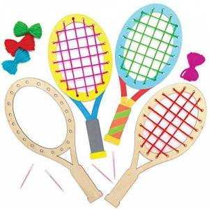 Baker Ross AT987 Tennis Racket Wooden Weaving Kits - Pack of 4, Introductory Sewing for Beginners and For Kids Arts and Crafts Projects