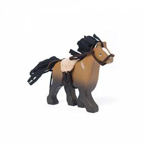 Le Toy Van Wooden Brown Horse Playing Figure With Saddle And Reins Suitable For Budkins