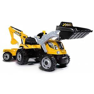 Smoby Kids Tractor and Trailer Yellow/Black Ride on Digger, Ages 3