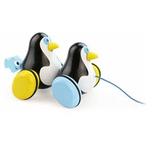 Vilac 1706 Hans and Knut Penguins Pull Toy, Multi-Color