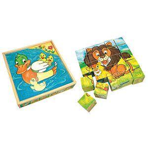 Bino 84173 Picture Cubes-Animals, Size-23 x 23 x 5.5 cm, Multicolour