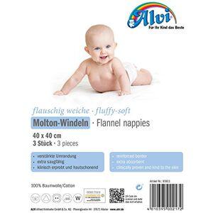 ALVI 93811Molton Nappies-Pack of 3, White
