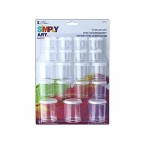 Loew-Cornell Simply Art Storage Cups 19/Pkg-Assorted Sizes, Other, Multicoloured, 6.19 x 21.05 x 29.3 cm