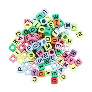 HIPENGYANBAIHU 1Bag / 100Pcs 6mm Alphabet Letter Charms for Beads For Loom Bands Bracelet Multi-colored No Glue No Mess Good As Gift multi-color,multi-color