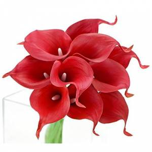 FiveSeasonStuff 10 Stems Real Touch Calla Lilies Artificial Flower Bouquet, Perfect Wedding, Bridal, Party, Home Office Dcor DIY (Red)