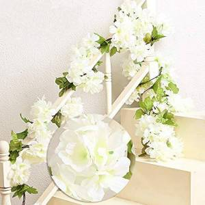 MZMing 2x235cm Artificial Cherry Blossoms Hanging Rattan Garland Wreath Fresh Lovely of Fake Flower Plant Flower Vine Leaf for Home Party Garden Fence Christmas Wedding Decoration-White