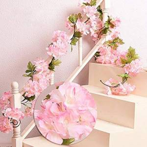 MZMing 2 x 235cm Artificial Cherry Blossoms Hanging Rattan Garland Wreath Fresh Lovely of Fake Flower Plant Flower Vine Leaf for Home Party Garden Fence Christmas Wedding Decoration- Pink
