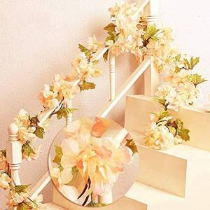 MZMing 2 x 235cm Artificial Cherry Blossoms Hanging Rattan Garland Wreath Fresh Lovely of Fake Flower Plant Flower Vine Leaf for Home Party Garden Fence Christmas Wedding Decoration- Champagne