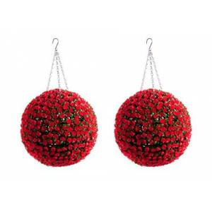 Best Artificial 2 (TM) 38cm Red Rose Topiary Hanging Flower Balls **UV Fade Protected**