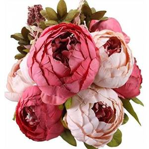 GL-Turelifes Vintage Artificial Peony Slik Rose Flowers Bouquet for Wedding Home Decoration (Dark Pink)