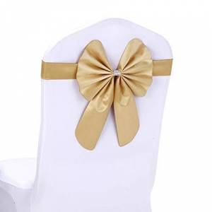 Hacoly Saches Wider Chair Bows PU Sach Chair Back Cover Bows Dinner Table Decoration For Christmas Wedding Decoration-Champagne Gold