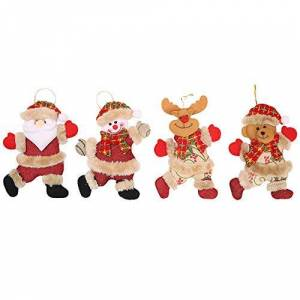 Christmas Decorations, Xmas Ornaments, 2 PC Christmas Ornaments Gift Santa Claus Snowman Reindeer Toy Doll Hang