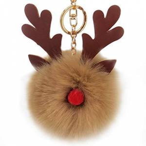 Gespout Christmas Elk Pompom Keychain Fluffy Keyring Furry Pendant Key Buckle Ornaments Accessories for Girl Women Children (Khaki)