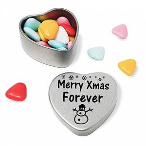 Merry Christmas Forever Heart Shaped Mini Tin Gift filled with mini coloured chocolates Perfect xmas present card alternative for Forever Cute Snowman Design
