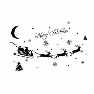 Danigrefinb Merry Christmas Santa Sleigh Snow Wall Sticker Window Glass Decal Home DIY Decor Xmas Decorations Pattern Wall Shop Window Display Stickers Ornaments