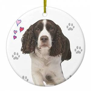 WSMBDXHJ Novelty Christmas Ornaments English Springer Spaniel Dog Ceramic Christmas Tree Hanging Decoration Xmas Gifts Keepsake Ornaments,3 Inches,Circle