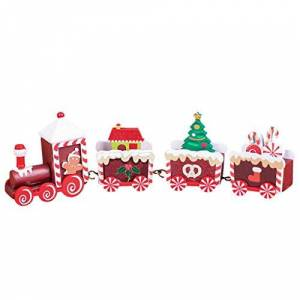 Spritumn Lovely Small ChristmasTrain Toy, Wooden Charming Xmas Train Creative Delicate Festive Toy Home Decoration Gift (K)