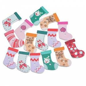 Souarts Random Mixed Christmas Pattern Printed Round 2 Holes Wood Wooden Buttons (Christmas Stocking 1)