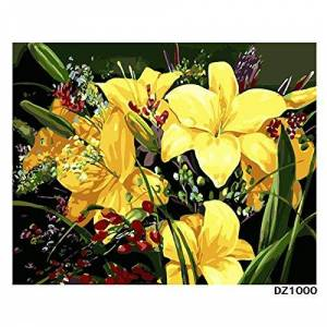 DIY Digital Painting Acrylic Paint Beginner Adult Children Hand-Painted Christmas Gift Clivia Flower Arrangement with Frame 40x50cm