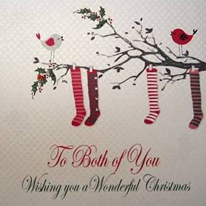 WHITE COTTON CARDS To Both Of You Wishing You A Wonderful, Handmade Large Christmas Card (Code xx14-80)