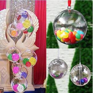 Hefine Christmas Decorations Ball Clear Can Open Plastic Bauble Xmas Tree Ornament Creative Pendant To Fill Your Own Gift Set To Decorate With Sweets Gin Whisky Fillable Decor Water Bottle