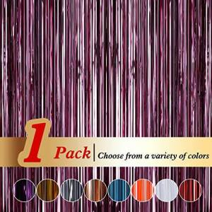 Ariceleo Tinsel Pink Foil Curtains (94cm x 245cm) Metallic Fringe Curtains Shimmer Photo Booth Backdrop Curtain for Birthday Wedding Party Christmas Decorations (Pink,1 Pack)