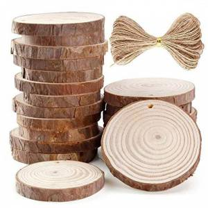 Spritumn Natural Wood Slices 10/24PCS 6-7cm Drilled Hole Unfinished Log Wooden Circles for DIY Crafts Wedding Decorations Christmas Ornaments with Free Gifts (10PCs)
