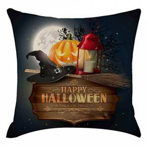 """Diadia_Home Halloween Theme Pillow Covers Happy Halloween Castle and Pumpkin Throw Pillow Case Daily Decorations Sofa Throw Pillow Case Cushion Covers Pillowcase 18"""" x 18"""""""