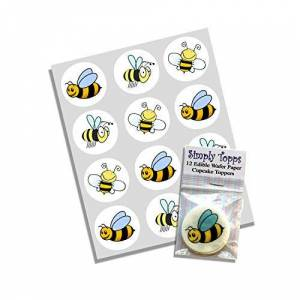 simply topps 12 Bumble Bee rice paper fairy / cup cake 40mm toppers pre cut decoration