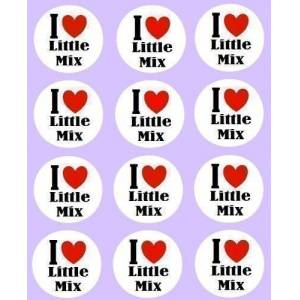 simply topps 12 I Love Little Mix Toppers rice paper fairy/cup cake 40mm pre cut decoration