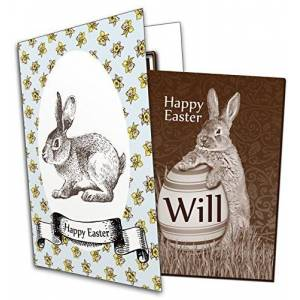 Chocolate Card Personalised Easter Chocolate Greetings Card - Bunny (rabbit) holding an egg with name WILL
