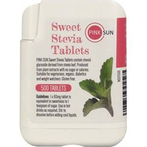 Sun PINK SUN Stevia Tablets x 500 Tabs - Sweetener Sugar Alternative Replacement Vegetarian Vegan Gluten Free Low Carb Non GM Zero Calories - Or Bulk Buy Multi Pack Dispenser